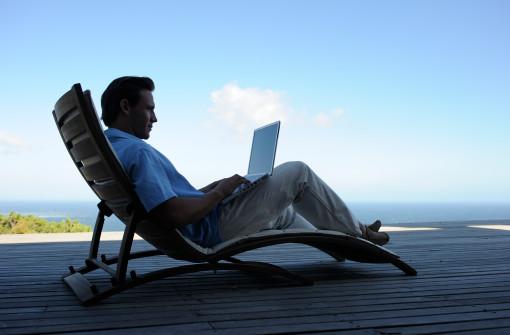 Using laptop on deck