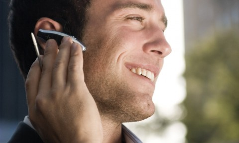 Businessman on a cell phone call